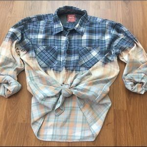 Blue Grunge Dip Dyed Boyfriend Plaid Flannel Shirt